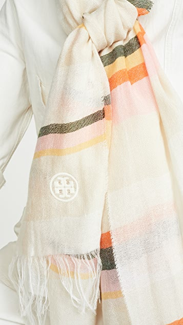 Tory Burch Canyon Stripe Blanket Scarf