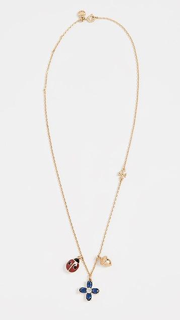 Tory Burch Buddy Clover Charm Necklace