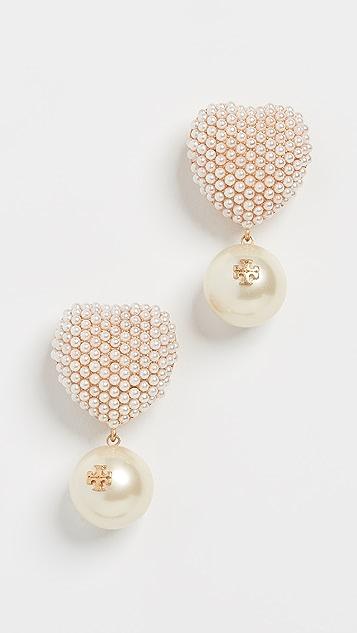 Tory Burch Pearl Heart Charm Earrings