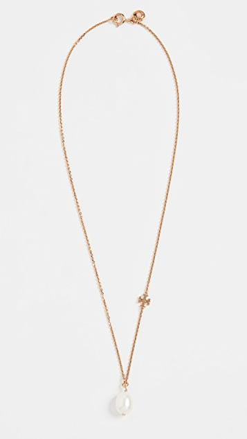 Tory Burch Logo Pearl Short Necklace