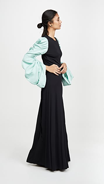 Tory Burch Gathered Taffeta Sleeve Dress