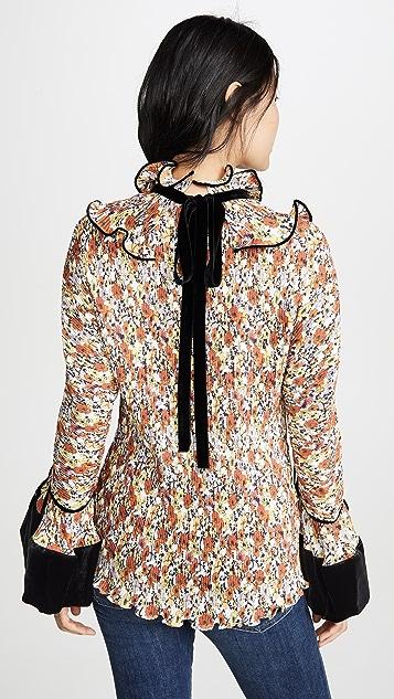Tory Burch 裥褶荷叶边女式衬衫