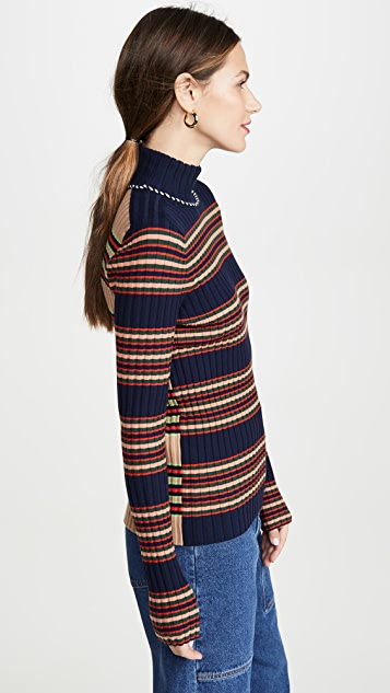 Tory Burch Striped Turtleneck