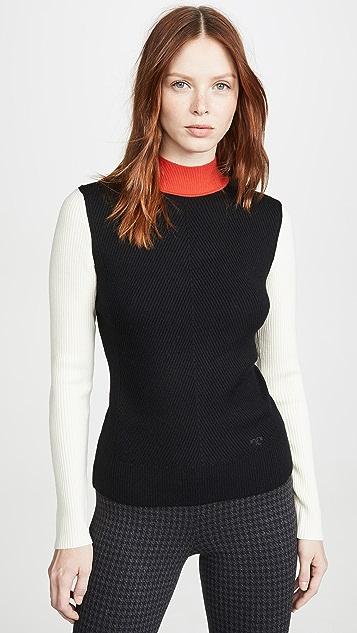 Tory Burch Knits Colorblock Mockneck Sweater