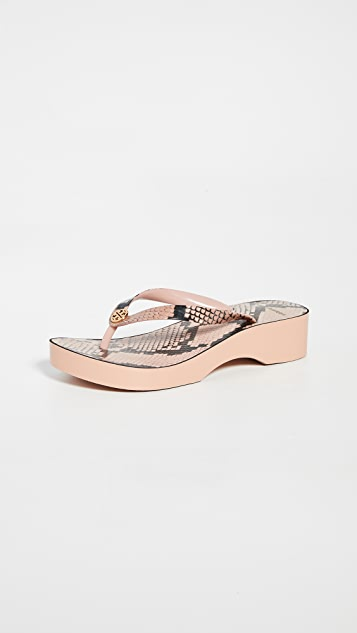 Tory Burch Printed Cutout Wedge Flip Flop