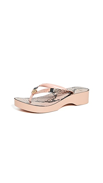 Tory Burch 印花镂空坡跟夹趾凉鞋