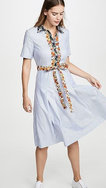 Tory Burch Платье-рубашка в лоскутной технике из хлопка