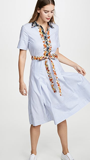 Tory Burch 棉质拼接衬衣连衣裙
