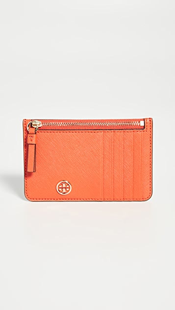 Tory Burch Robinson Top Zip Card Case