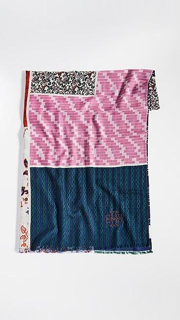 Tory Burch 多色贴片长方形围巾