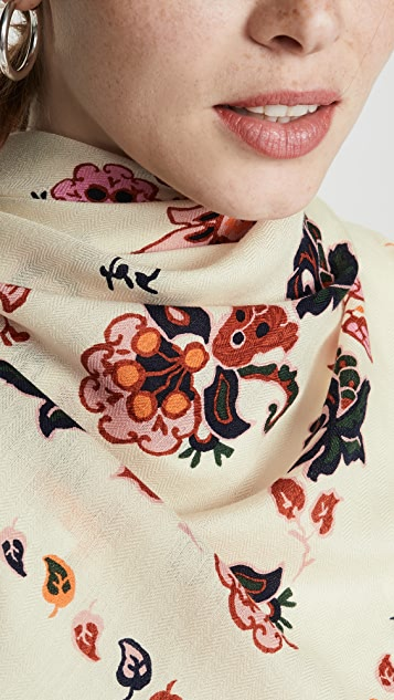 Tory Burch Mountain Paisley Oversized Square Scarf