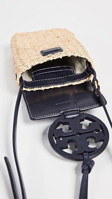 Tory Burch Miller Straw Phone Crossbody Bag