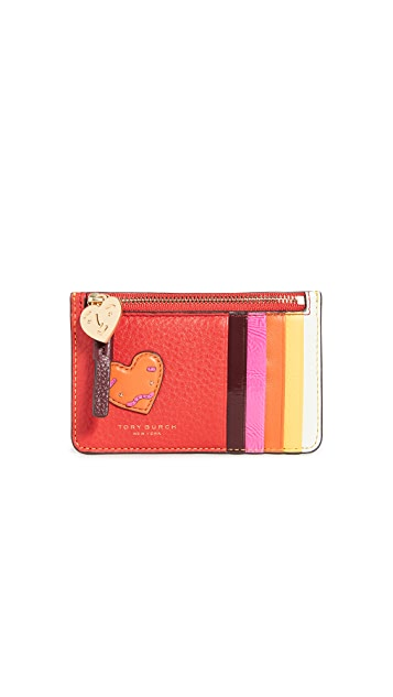 Tory Burch Perry Patchwork Hearts Top-Zip Card Case