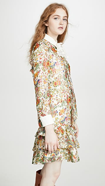 Tory Burch 印花金属色连衣裙