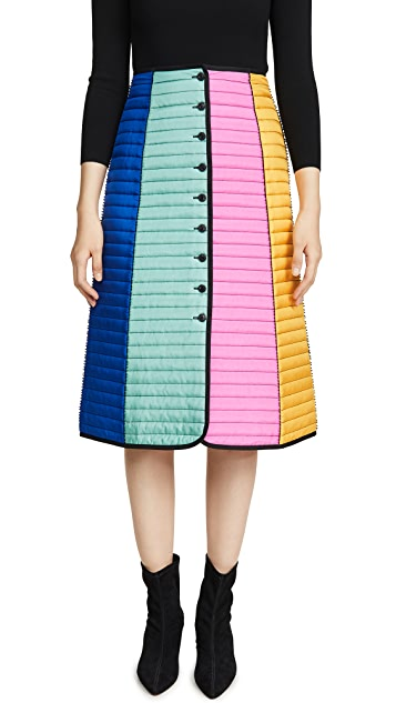 Tory Burch Colorblock Quilted Skirt