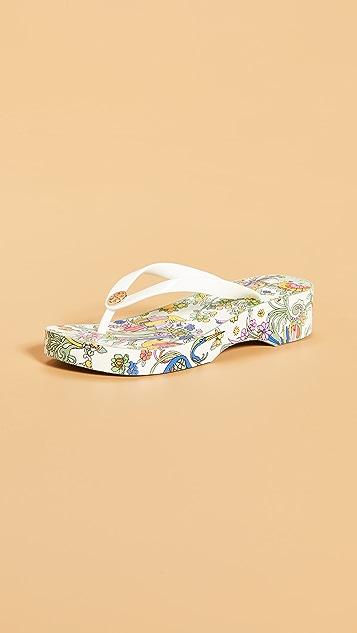 Tory Burch 镂空坡跟夹趾凉鞋