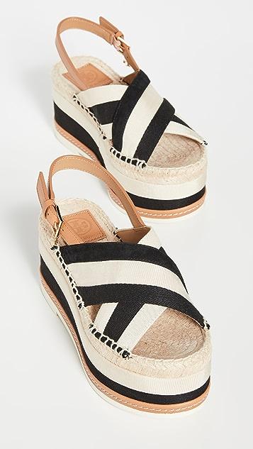 Tory Burch Grosgrain Platform Espadrille Sandals