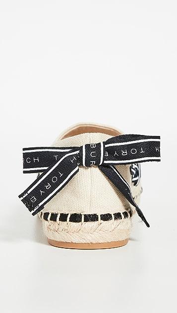 Tory Burch 徽标罗缎编织便鞋鞋