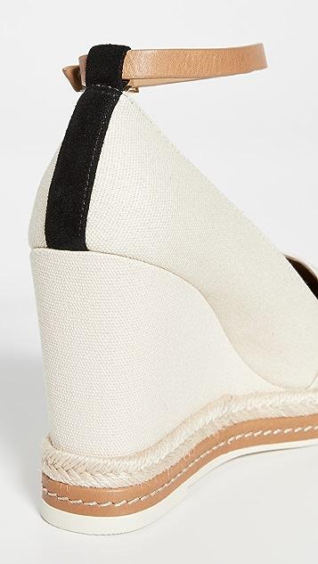 Tory Burch 撞色坡跟编织便鞋 105mm