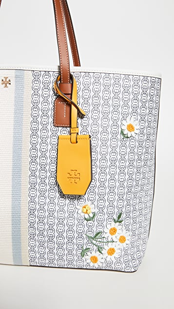 Tory Burch Объемная сумка с короткими ручками Gemini из холщовой ткани с аппликацией