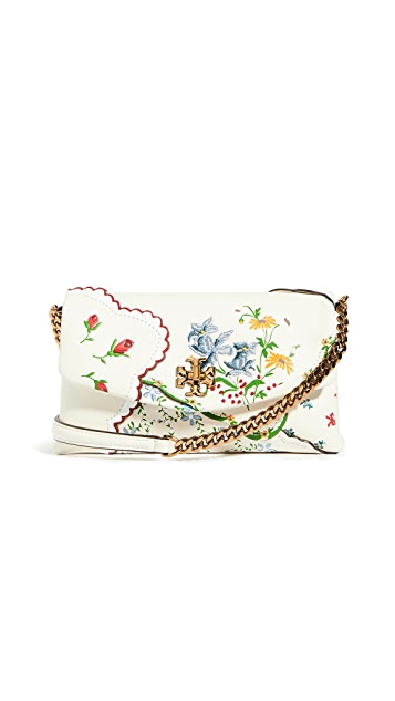 Tory Burch Kira Chevron Floral Embroidered Chain Wallet