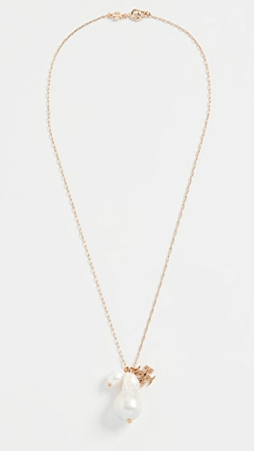 Tory Burch Kira Pearl Charm Pendant Necklace