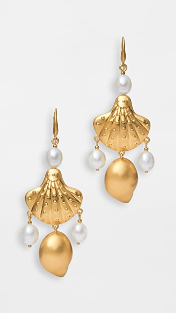 Tory Burch Shell and Pearl Drop Earrings