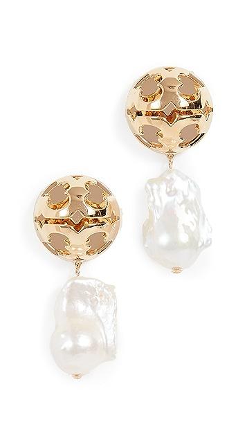 Tory Burch Bubble Miller Baroque Pearl Drop Earrings