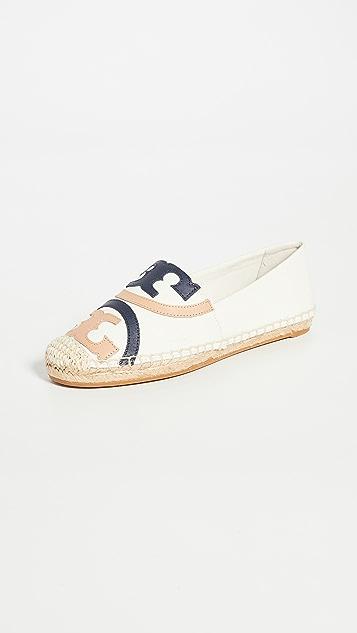 Tory Burch 罂粟红编织底便鞋