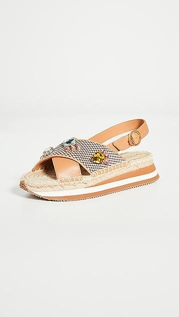 Tory Burch 雏菊水晶凉鞋
