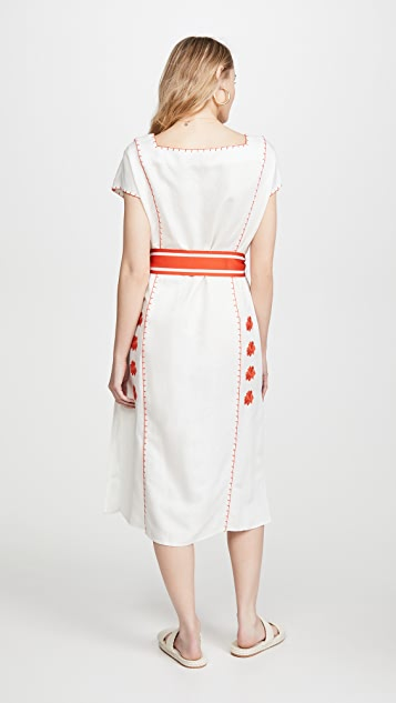Tory Burch Embroidered Midi Dress