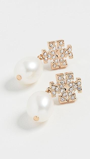 Tory Burch Kira Pave Pearl Drop Earrings