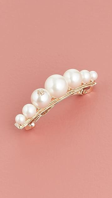 Tory Burch 徽标玻璃珍珠发夹