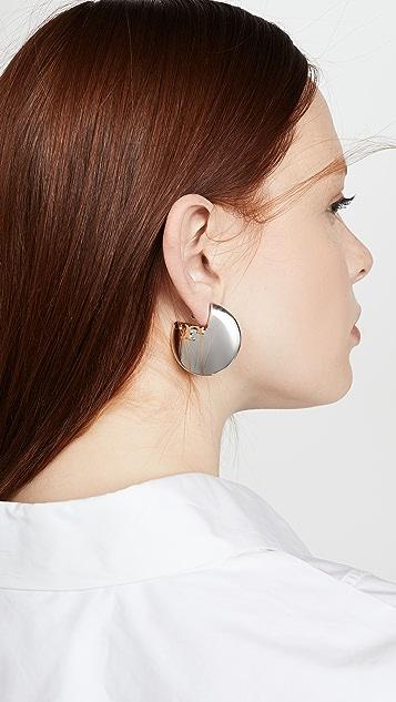 Tory Burch Applied Logo Hoop Earrings