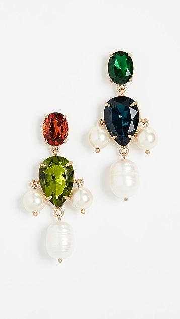 Tory Burch 珍珠多宝石坠饰耳环