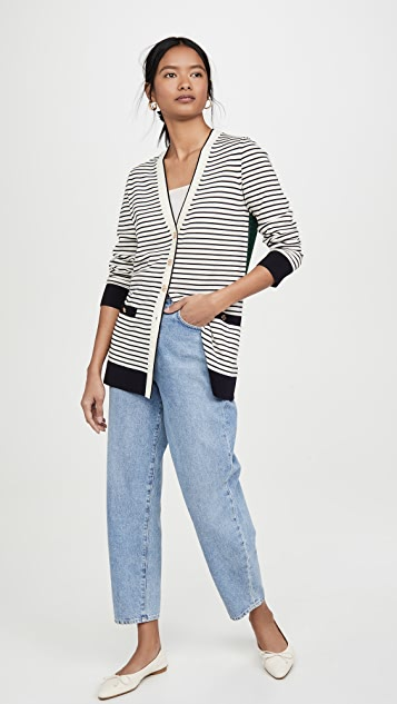 Tory Burch Striped Oversized Madeline Cardigan New Ivory/medium Navy