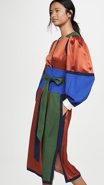Tory Burch Платье-халат из шелка с цветными блоками