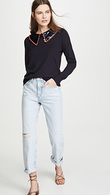 Tory Burch Embellished Collar Pullover