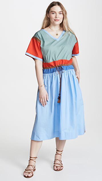 Tory Burch Colorblock Poplin Dress