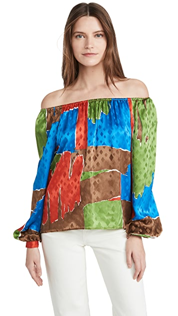 Tory Burch Off Shoulder Silk Top