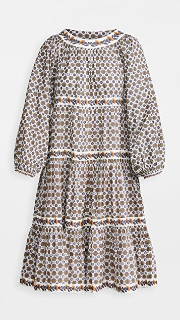 Tory Burch Printed Puffed-Sleeve Dress