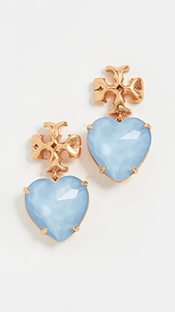 Tory Burch Carved Kira Heart Earrings