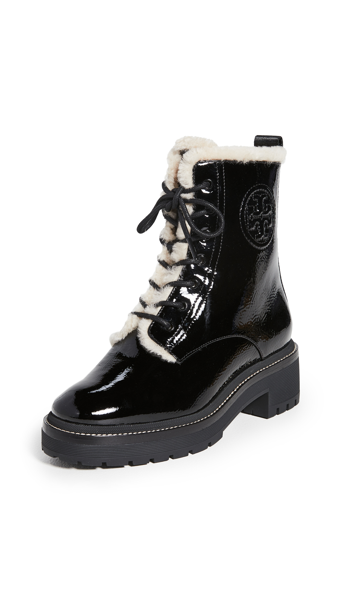 Tory Burch Miller 50mm Lug Sole Shearling Booties