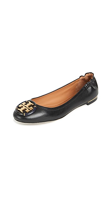 Tory Burch Minnie Ballet With Multi Logo Flats