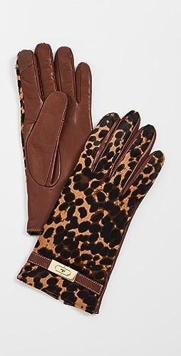 Tory Burch - Leopard Lee Lock Gloves