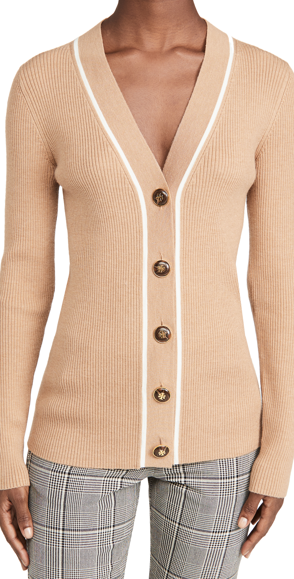 Tory Burch Ribbed Simone Cardigan