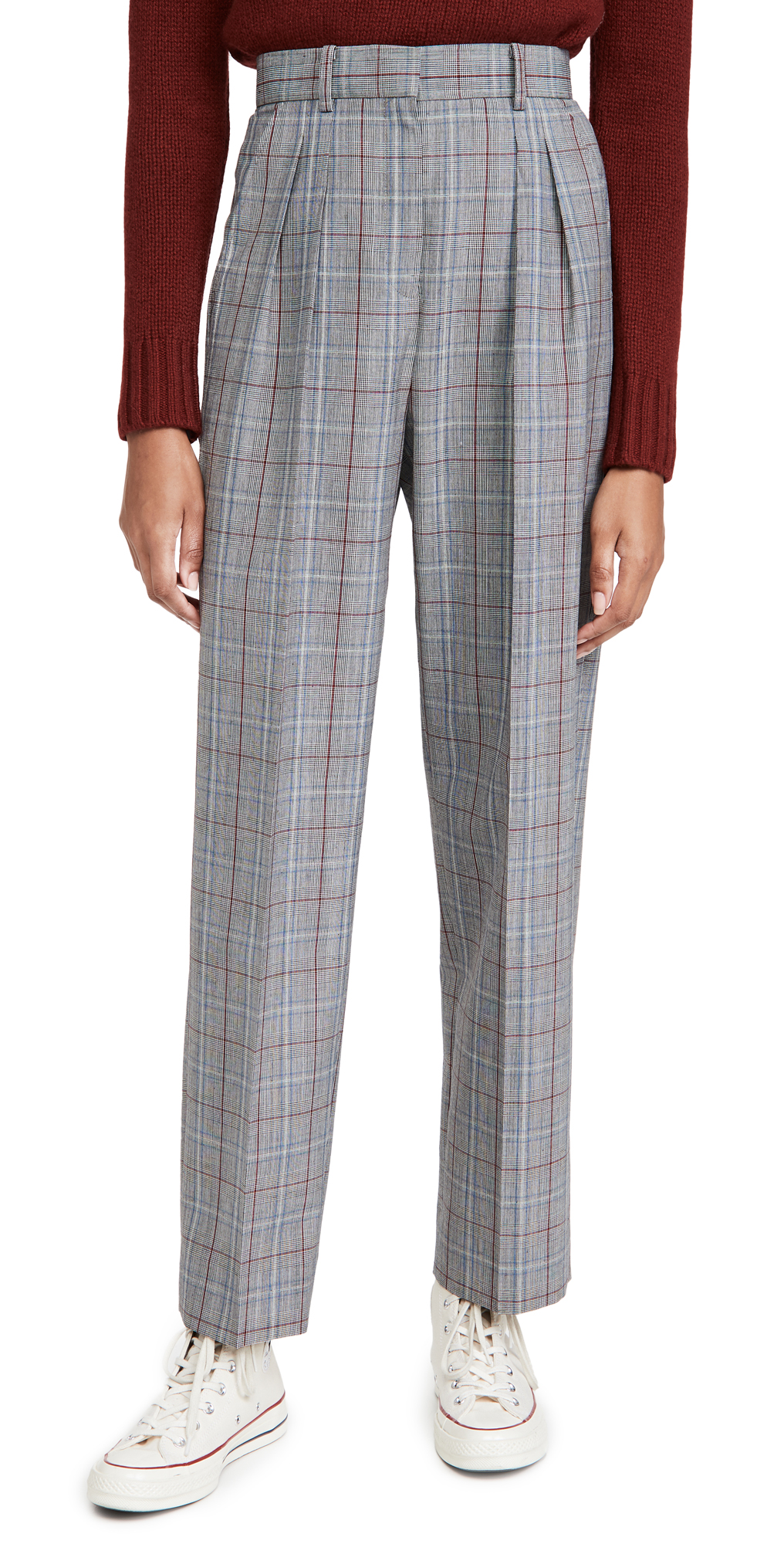 Tory Burch Plaid Pleated Trousers