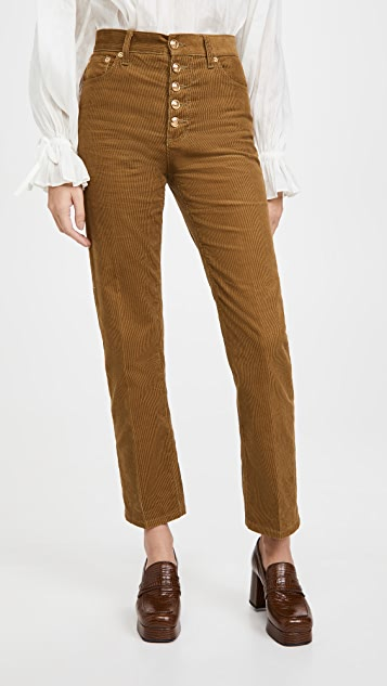 Tory Burch Corduroy Button Fly Jeans