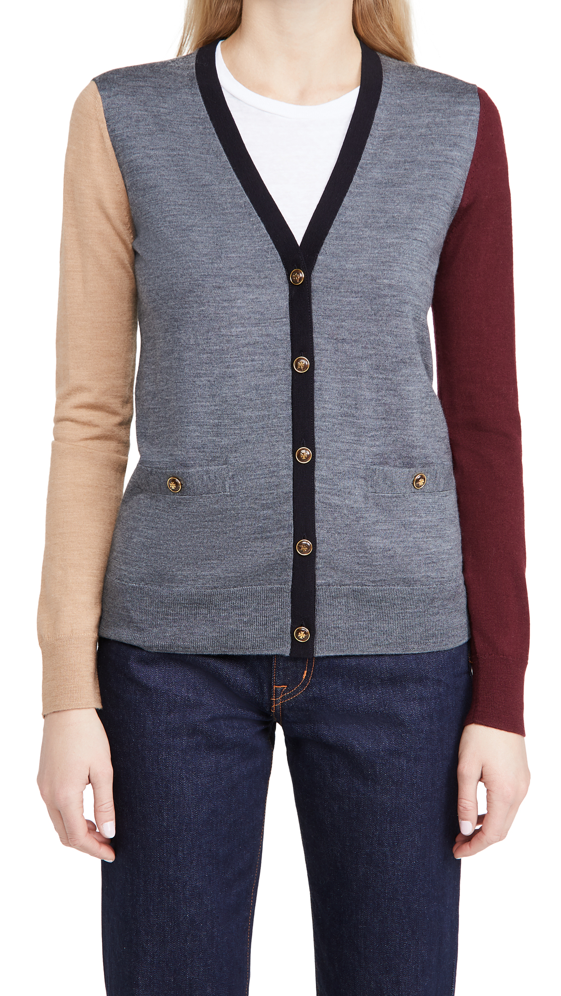 Tory Burch Colorblock Trim Madeline Cardigan