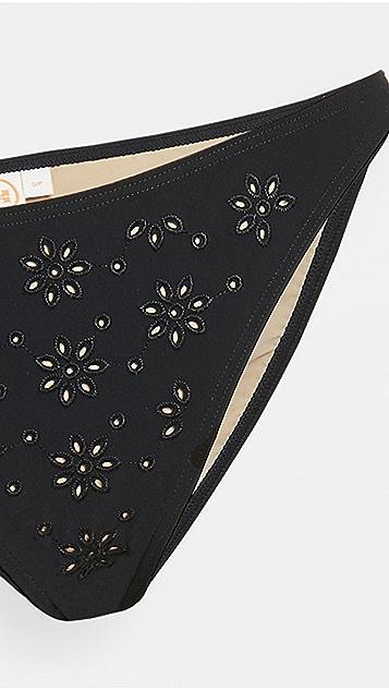 Tory Burch 英格兰刺绣低腰短内裤式比基尼泳裤